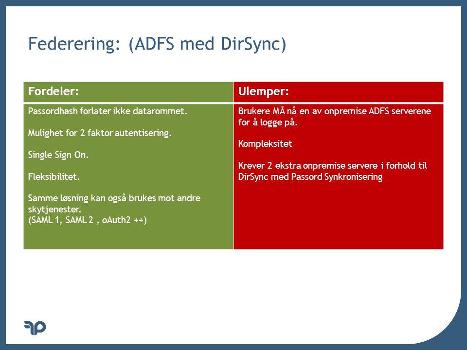 Federering: (ADFS med DirSync)