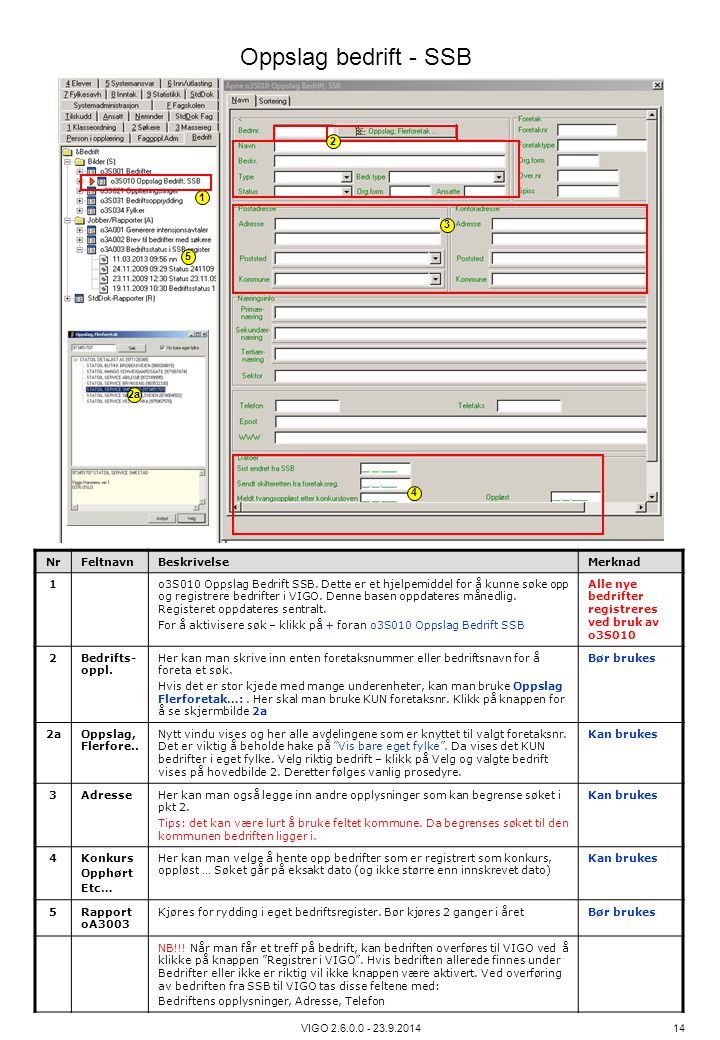 Oppslag bedrift - SSB 2 1 3 5 2a 4 Nr Feltnavn Beskrivelse Merknad 1