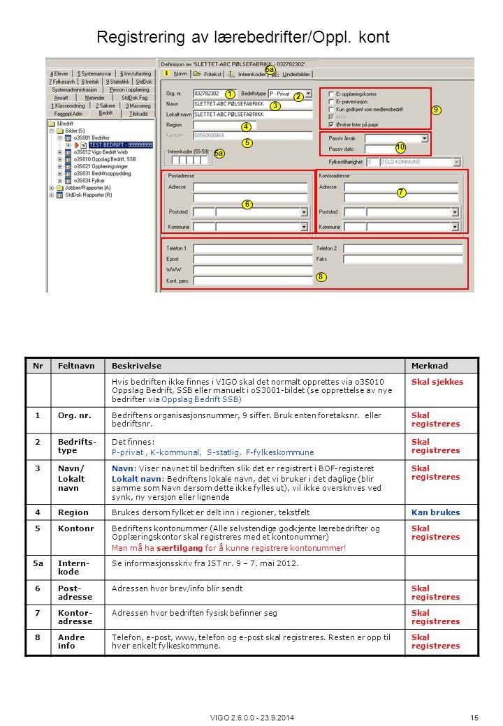 Registrering av lærebedrifter/Oppl. kont