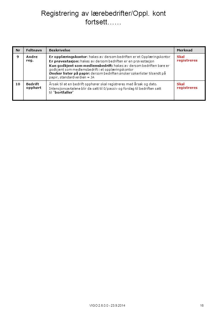 Registrering av lærebedrifter/Oppl. kont fortsett……
