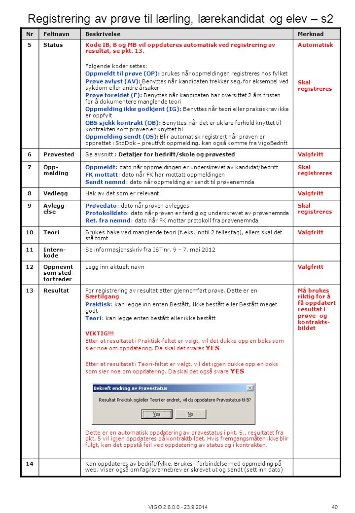 Registrering av prøve til lærling, lærekandidat og elev – s2