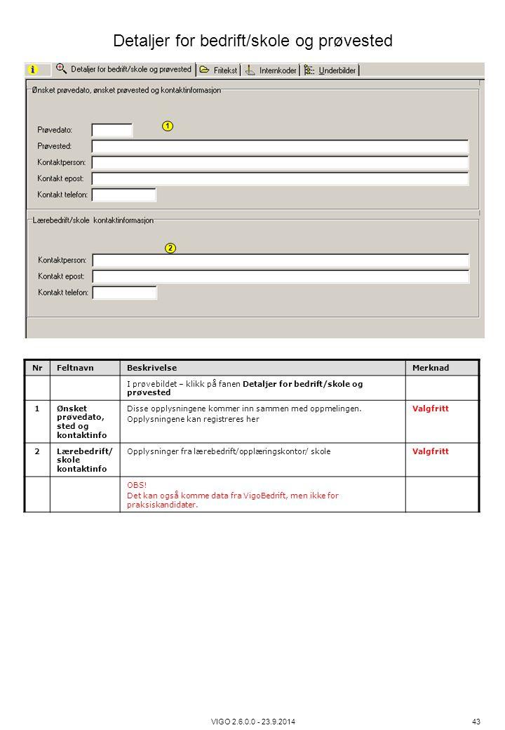 Detaljer for bedrift/skole og prøvested