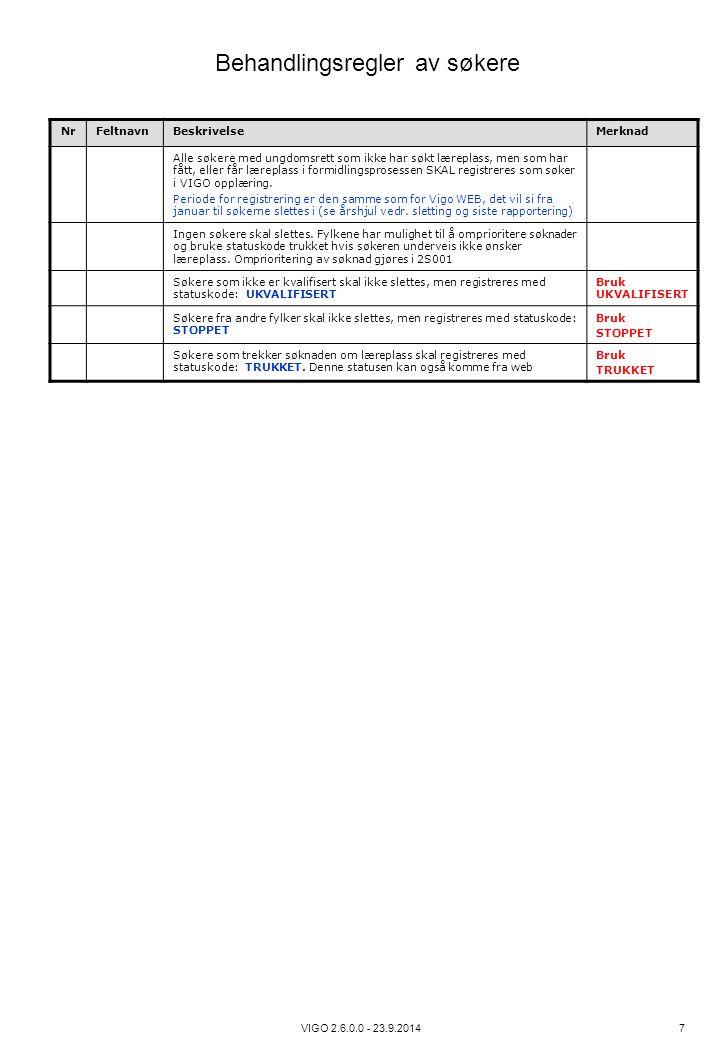 Behandlingsregler av søkere