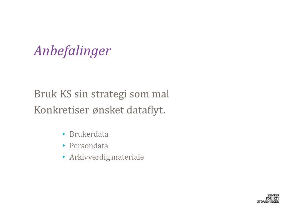 Anbefalinger Bruk KS sin strategi som mal Konkretiser ønsket dataflyt.