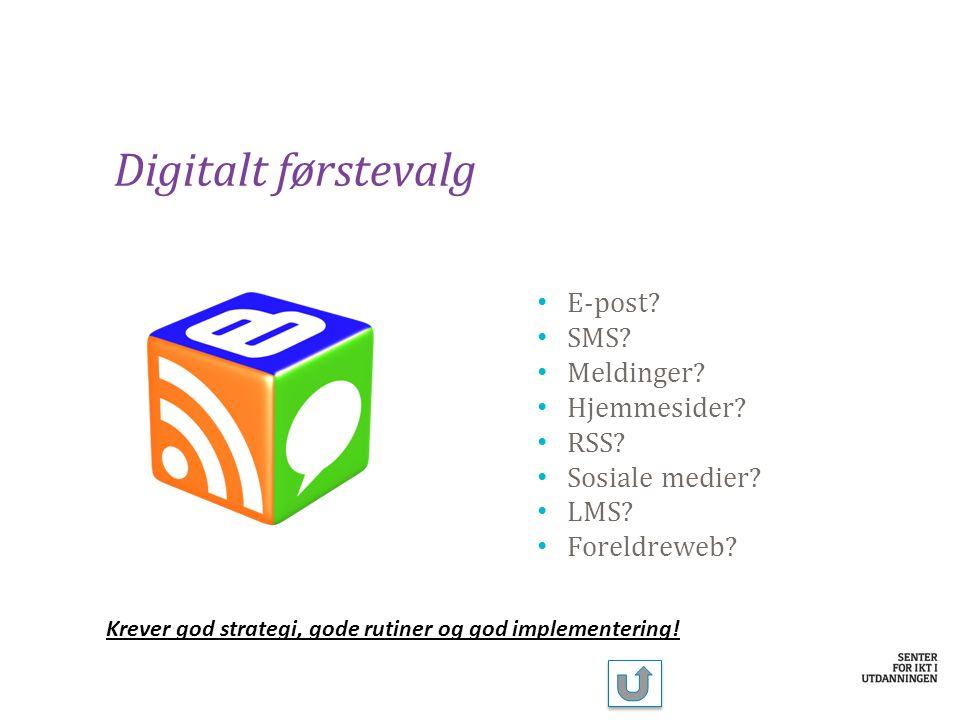 Digitalt førstevalg E-post SMS Meldinger Hjemmesider RSS