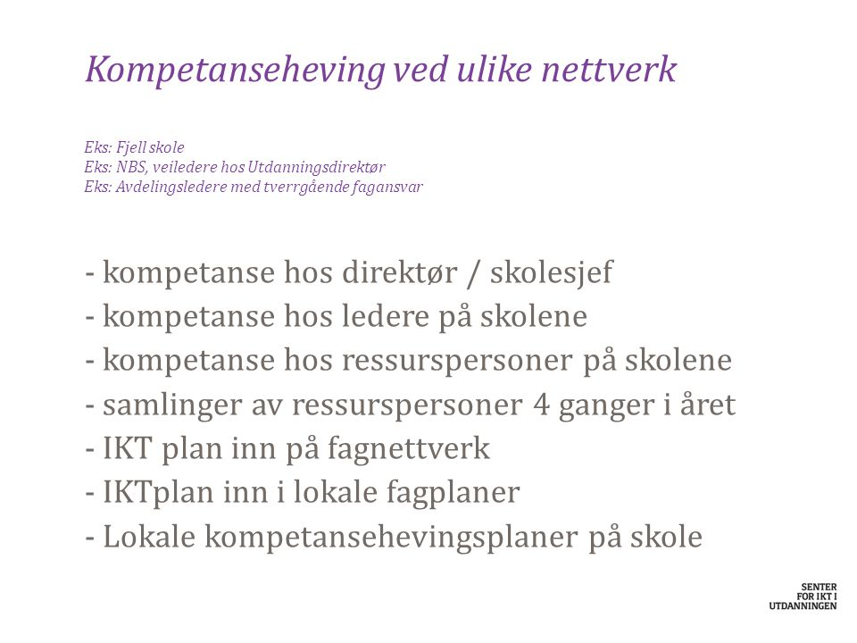 Kompetanseheving ved ulike nettverk Eks: Fjell skole Eks: NBS, veiledere hos Utdanningsdirektør Eks: Avdelingsledere med tverrgående fagansvar