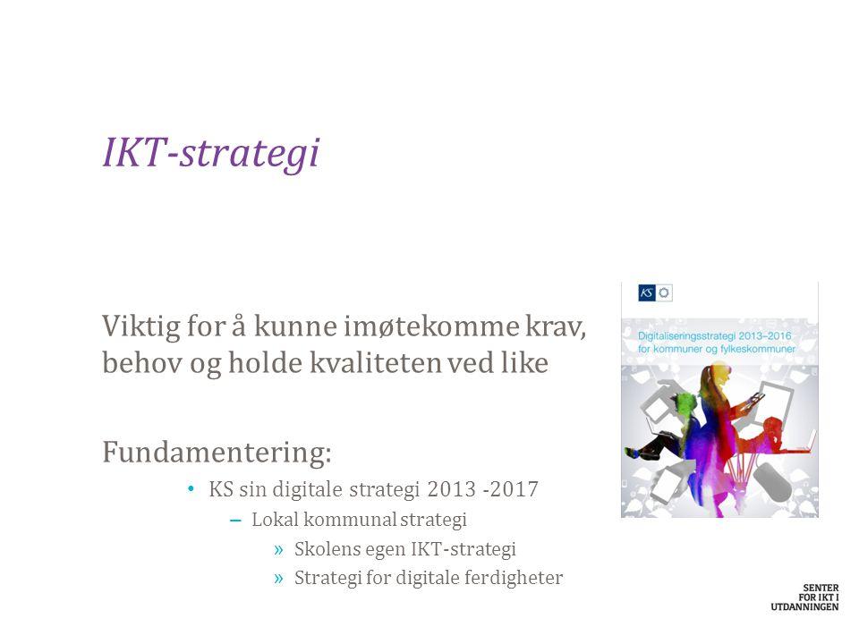 IKT-strategi Viktig for å kunne imøtekomme krav, behov og holde kvaliteten ved like. Fundamentering: