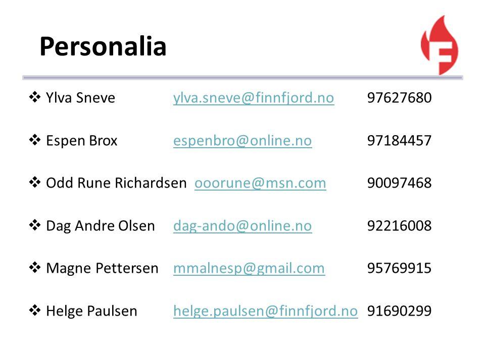 Personalia Ylva Sneve ylva.sneve@finnfjord.no 97627680