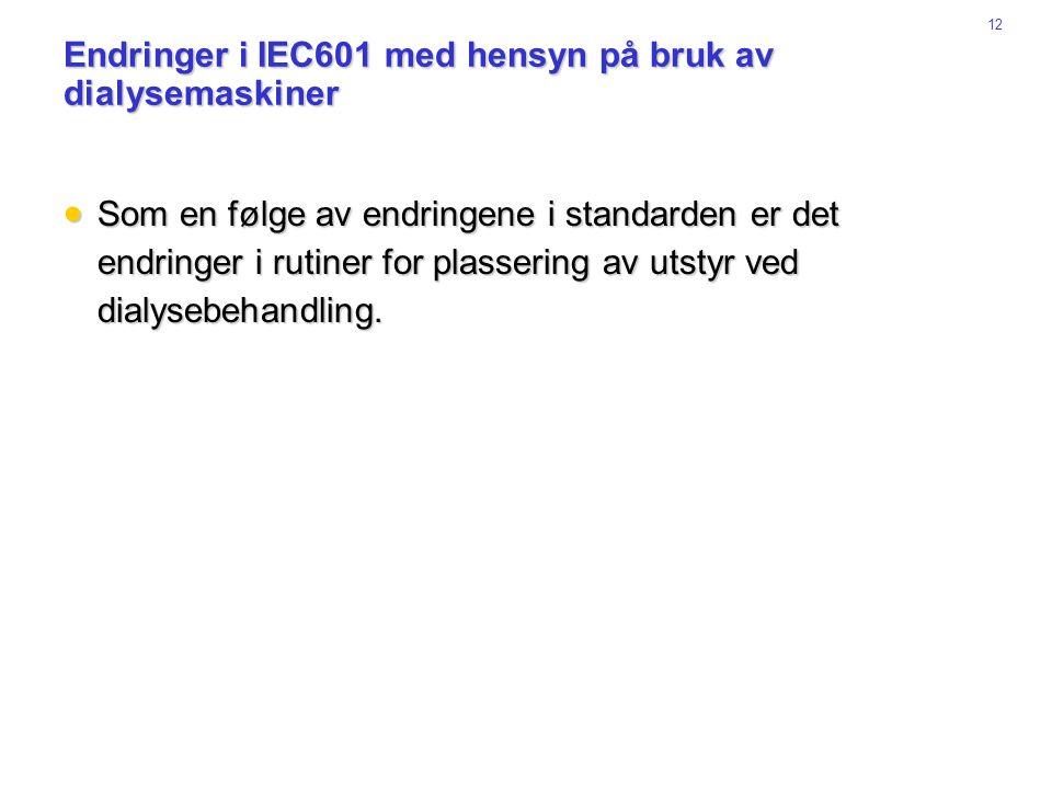 Endringer i IEC601 med hensyn på bruk av dialysemaskiner