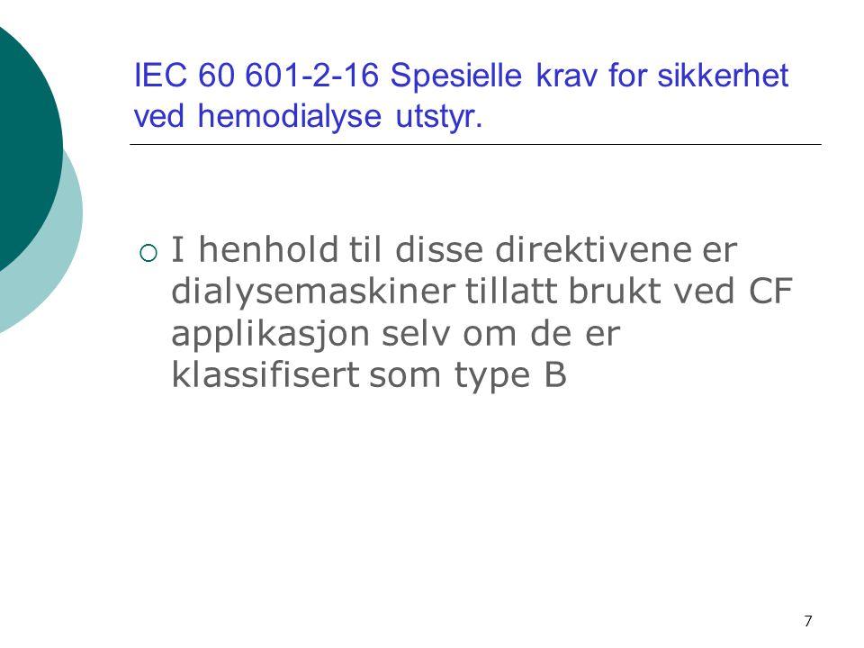 IEC 60 601-2-16 Spesielle krav for sikkerhet ved hemodialyse utstyr.