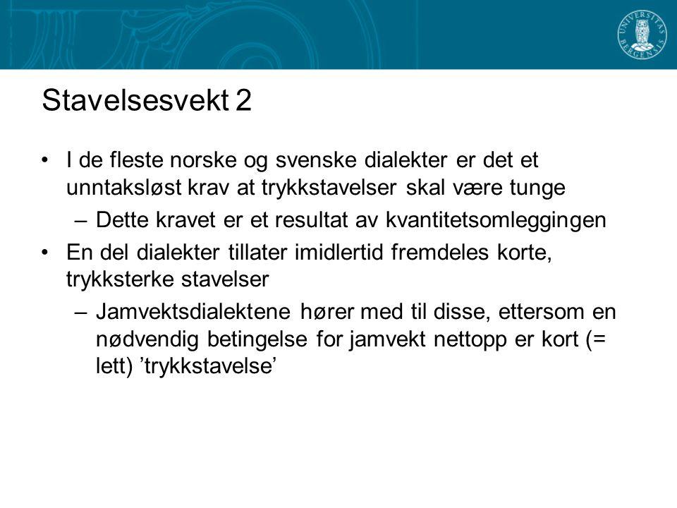 Stavelsesvekt 2 I de fleste norske og svenske dialekter er det et unntaksløst krav at trykkstavelser skal være tunge.