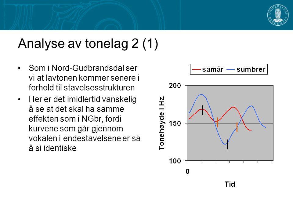 Analyse av tonelag 2 (1) Som i Nord-Gudbrandsdal ser vi at lavtonen kommer senere i forhold til stavelsesstrukturen.