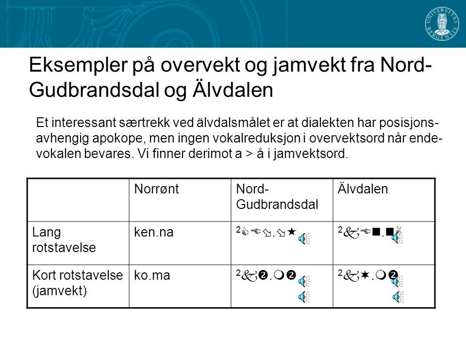 Eksempler på overvekt og jamvekt fra Nord-Gudbrandsdal og Älvdalen