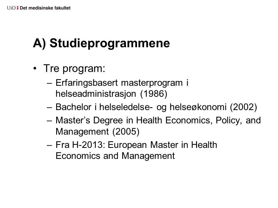 A) Studieprogrammene Tre program: