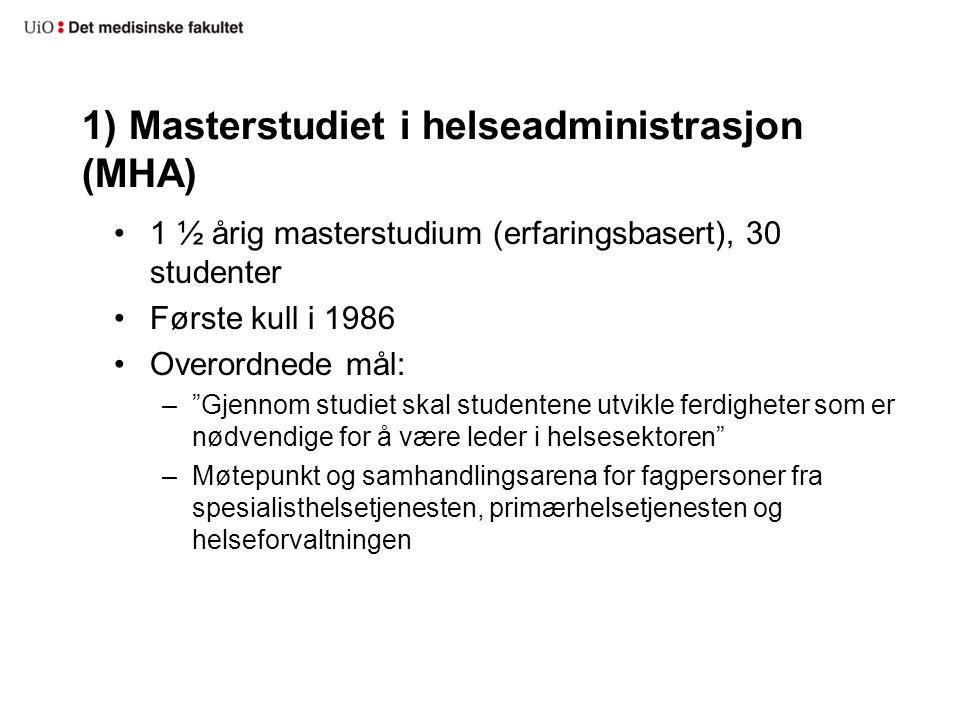 1) Masterstudiet i helseadministrasjon (MHA)