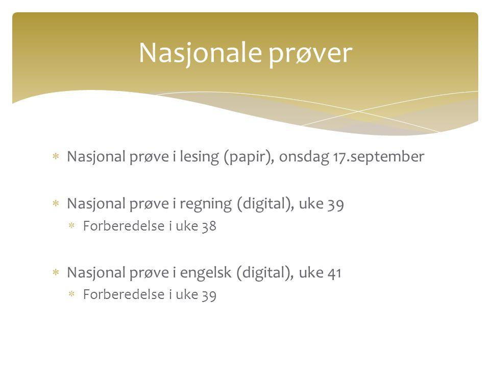 Nasjonale prøver Nasjonal prøve i lesing (papir), onsdag 17.september