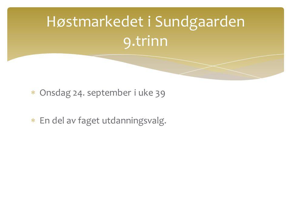 Høstmarkedet i Sundgaarden 9.trinn