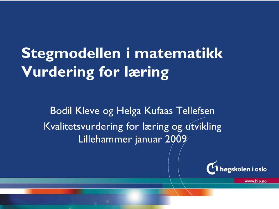 Stegmodellen i matematikk Vurdering for læring