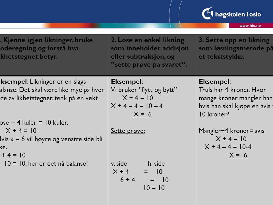 1. Kjenne igjen likninger, bruke hoderegning og forstå hva likhetstegnet betyr.