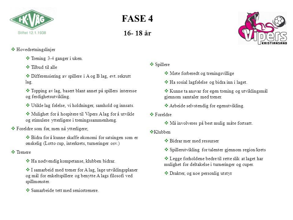 FASE 4 16- 18 år Hovedretningslinjer Trening 3-4 ganger i uken.