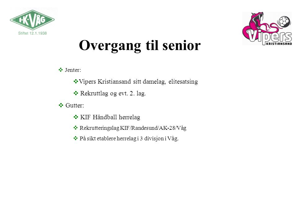 Overgang til senior Vipers Kristiansand sitt damelag, elitesatsing