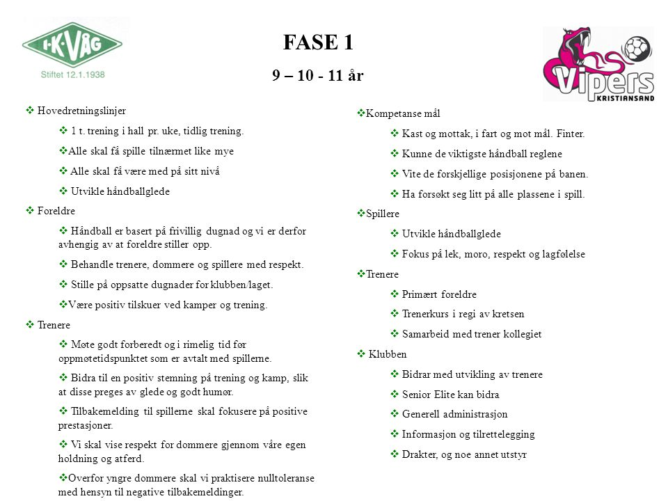 FASE 1 9 – 10 - 11 år Hovedretningslinjer Kompetanse mål