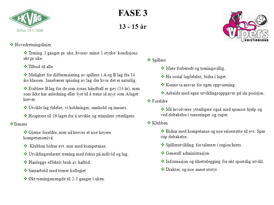 FASE 3 13 - 15 år Hovedretningslinjer