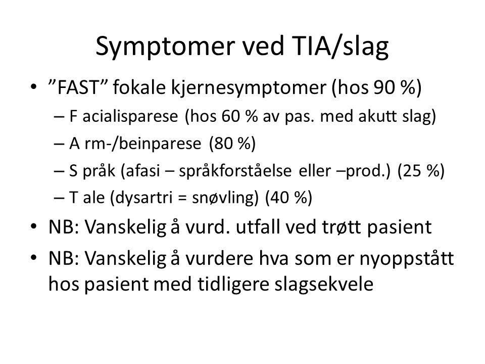 Symptomer ved TIA/slag