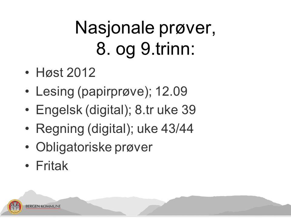 Nasjonale prøver, 8. og 9.trinn: