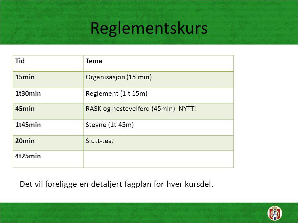 Reglementskurs Tid. Tema. 15min. Organisasjon (15 min) 1t30min. Reglement (1 t 15m) 45min. RASK og hestevelferd (45min) NYTT!