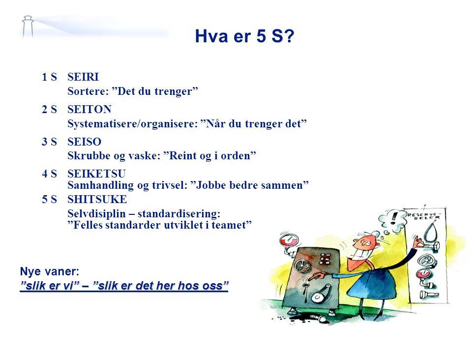 Hva er 5 S 1 S SEIRI Sortere: Det du trenger 2 S SEITON