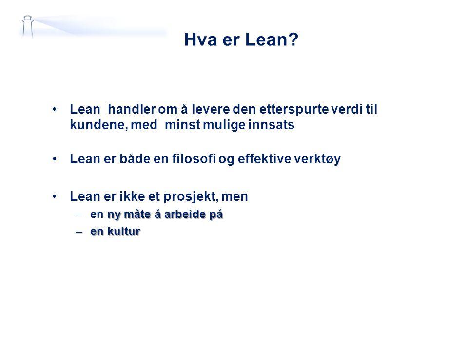 Hva er Lean Lean handler om å levere den etterspurte verdi til kundene, med minst mulige innsats.