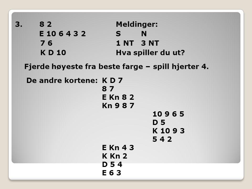 3. 8 2 Meldinger: E 10 6 4 3 2 S N 7 6 1 NT 3 NT K D 10 Hva spiller du ut