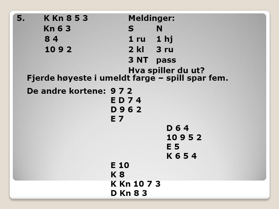 5. K Kn 8 5 3 Meldinger: Kn 6 3 S N 8 4 1 ru 1 hj 10 9 2 2 kl 3 ru 3 NT pass Hva spiller du ut