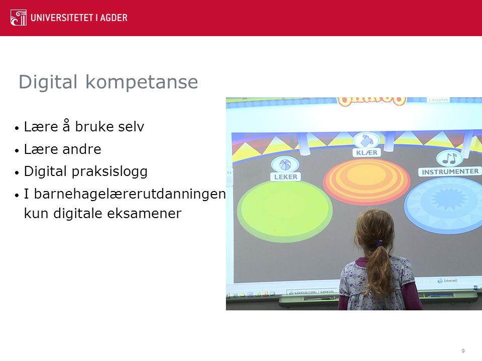 Digital kompetanse Lære å bruke selv Lære andre Digital praksislogg