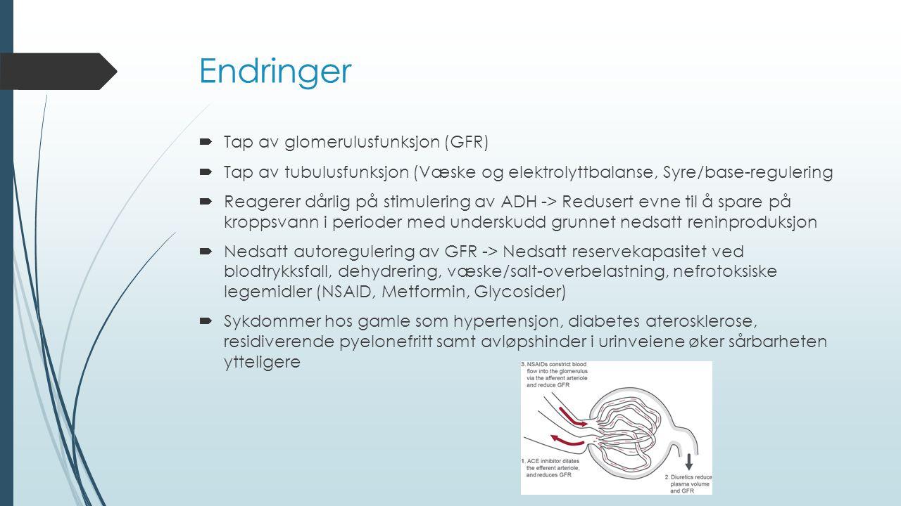 Endringer Tap av glomerulusfunksjon (GFR)