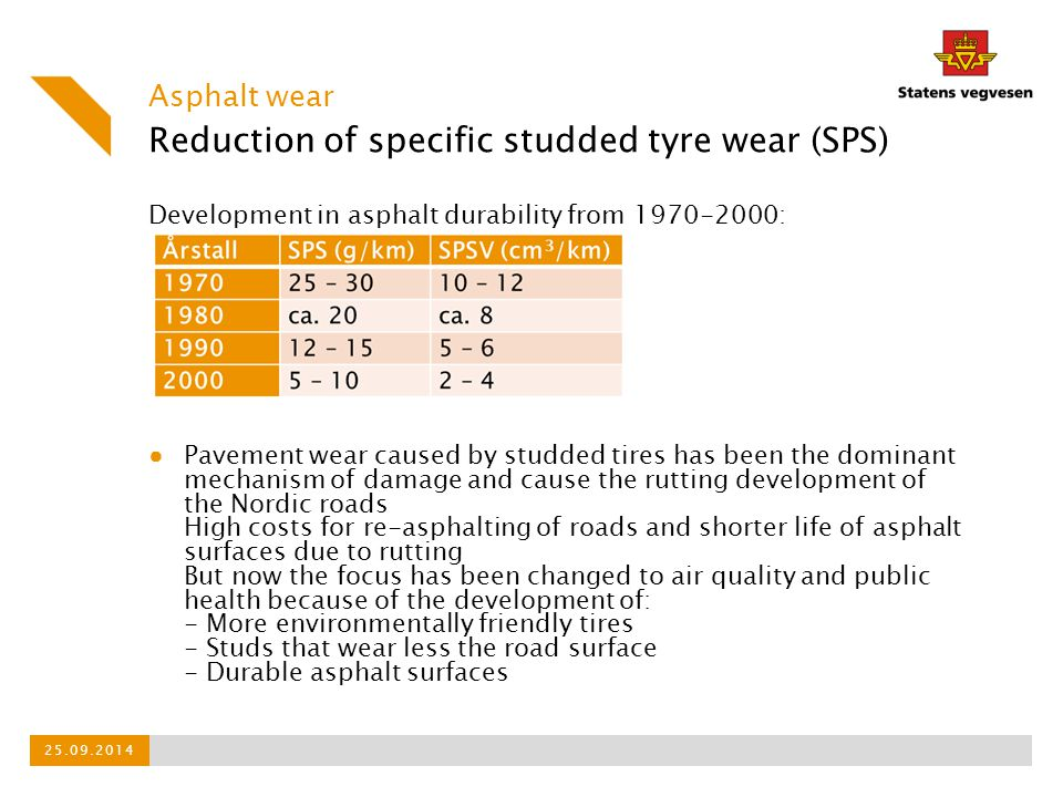 Reduction of specific studded tyre wear (SPS)