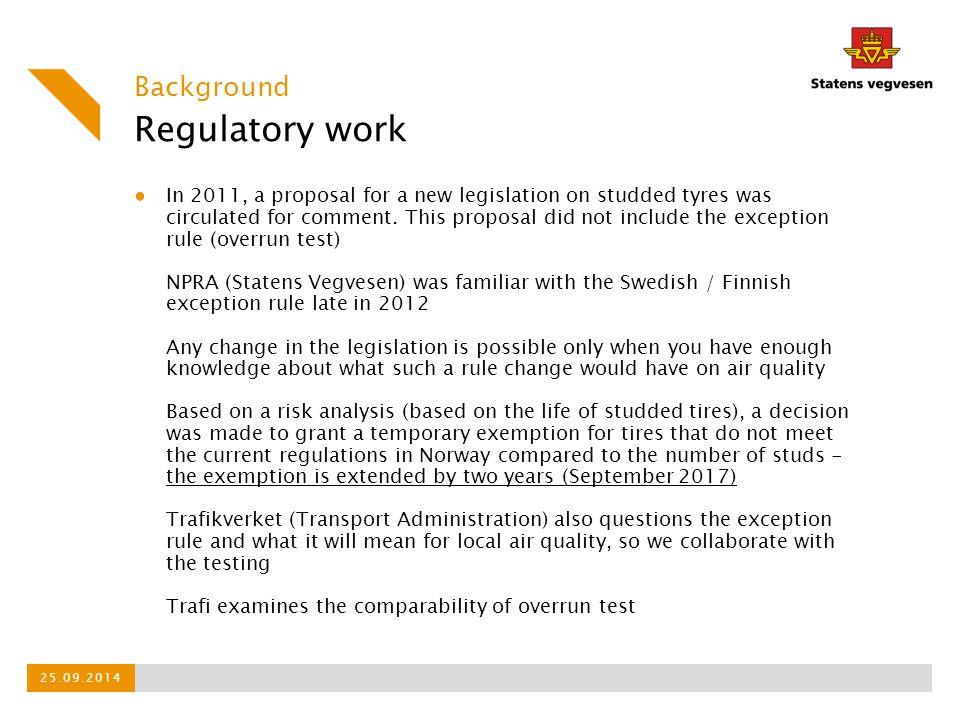 Regulatory work Background