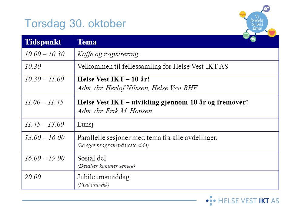 Torsdag 30. oktober Tidspunkt Tema 10.00 – 10.30 Kaffe og registrering