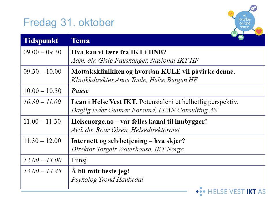 Fredag 31. oktober Tidspunkt Tema 09.00 – 09.30