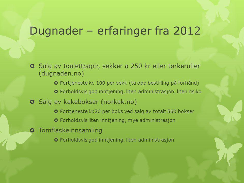 Dugnader – erfaringer fra 2012