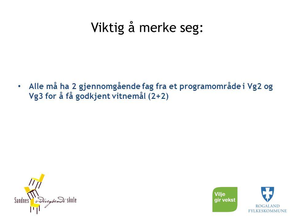 Viktig å merke seg: Alle må ha 2 gjennomgående fag fra et programområde i Vg2 og Vg3 for å få godkjent vitnemål (2+2)