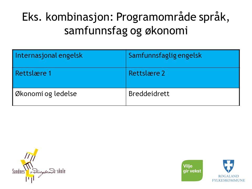 Eks. kombinasjon: Programområde språk, samfunnsfag og økonomi