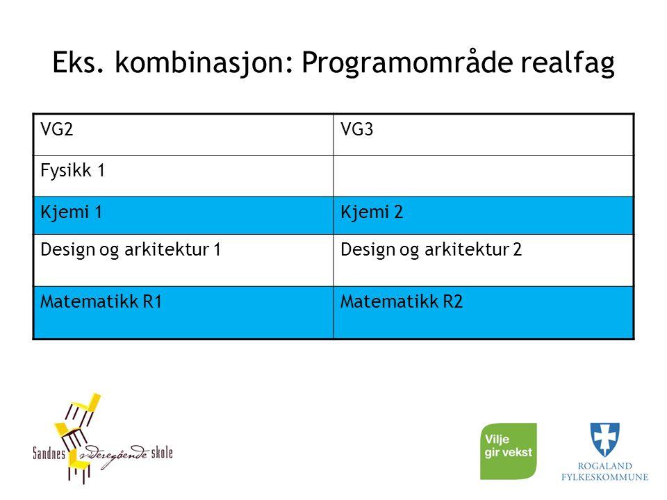 Eks. kombinasjon: Programområde realfag