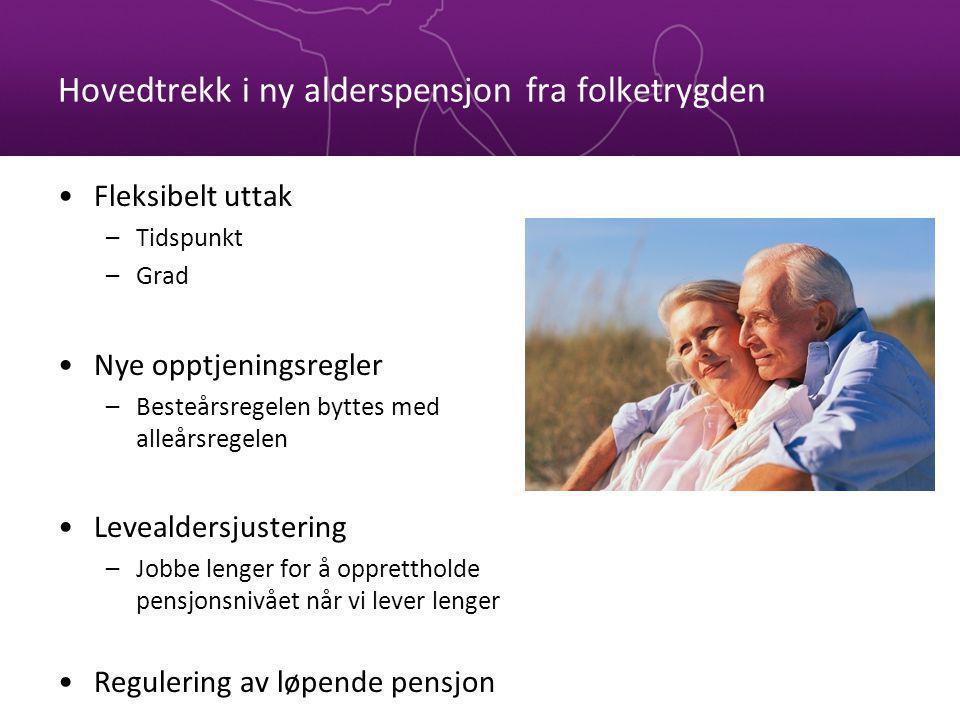 Hovedtrekk i ny alderspensjon fra folketrygden