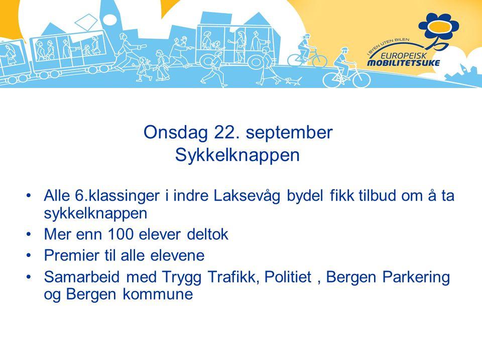 Onsdag 22. september Sykkelknappen