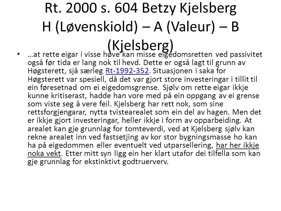 Rt. 2000 s. 604 Betzy Kjelsberg H (Løvenskiold) – A (Valeur) – B (Kjelsberg)