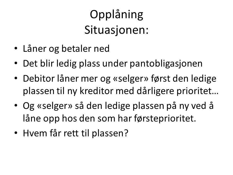 Opplåning Situasjonen: