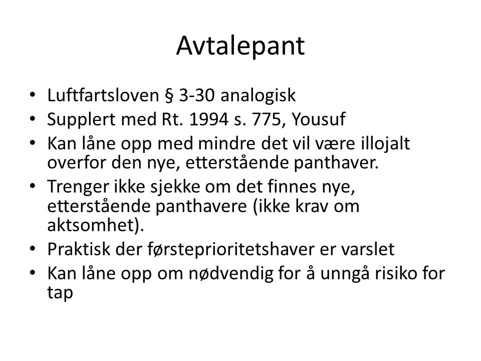 Avtalepant Luftfartsloven § 3-30 analogisk