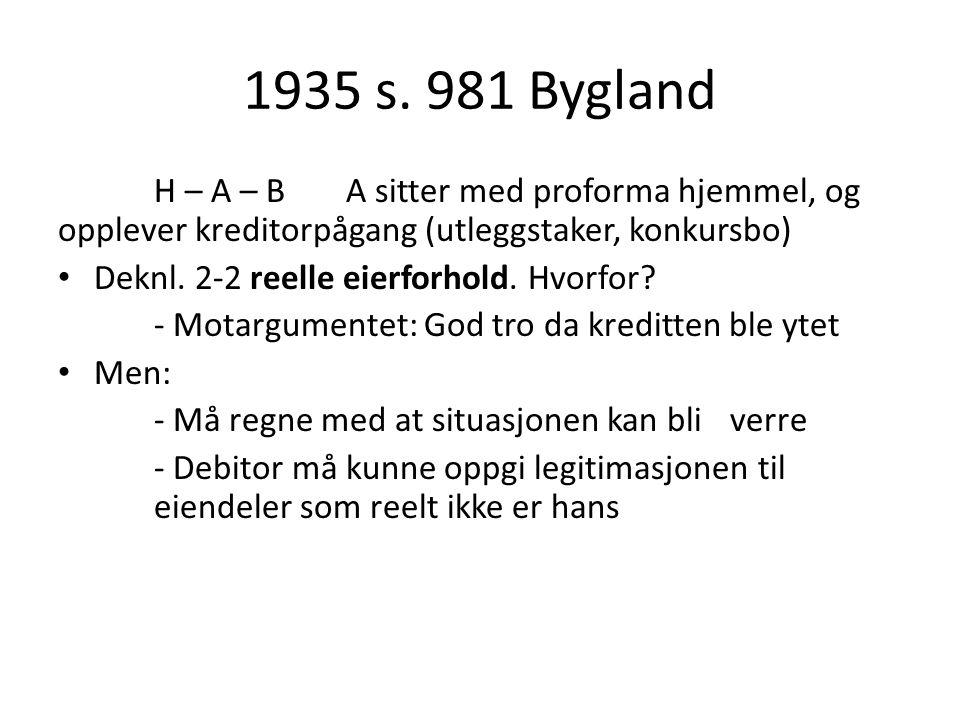 1935 s. 981 Bygland H – A – B A sitter med proforma hjemmel, og opplever kreditorpågang (utleggstaker, konkursbo)